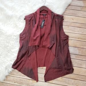 Oxblood Soft Faux Leather Vest XL NWT Stylish Tops